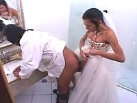 Lewd shemale bride stuffing her rod up grooms poop chute right in bathroom