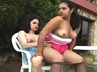 Lustful shemale and seductive chick having their fucking amusement outdoors