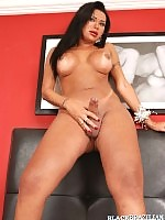 Hot shemale beautie in sheer outfits playing with cock