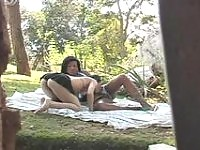 Lusty shemale and her pretty girlfriend in doggystyle frenzy in the forest