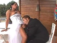 Naughty shemale bride eagerly plowing banghole of her fiance after wedding