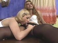Seductive shemale revealing her fiery desire for gal's banging on the table