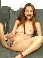 Hot ladyboy pulls up dress to play with new equipment