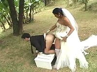 Amazing wedding with a shemale bride bound to have hot ass-fucking finale