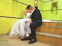 Hot shemale bride drilling the ass of her fianc� right in their nuptial bed