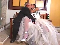 Sexy shemale bride cant wait any minute craving to drill the ass of groom