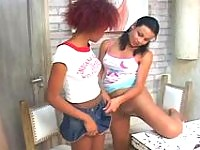 Spicy shemale and her girlfriend pull up their skirts for pantyhose fucking