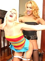 Spicy shemale cant hide her boner in black tights at the sight of sexy gal