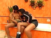 Lewd shemale throwing her butt on her friend shemale�s cock in the bathroom