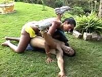 Hardcore shemale shoving her almost gargantuan boner in guy's fuck-hole