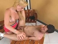 Blonde shemale always listens to her dual nature while fucking with a guy