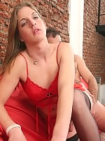 Hot shemale in red Andri gets brutal backdoor penetration