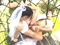 Lascivious shemale bride eagerly ramming and creaming guys mouth outdoors