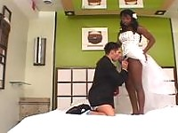 Chocolate shemale bride spreading butt cheeks in outrageous anal fucking