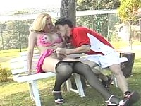 Filthy guy getting his ass exploited by richly endowed shemale on the bench