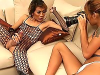 Nasty ladyboys developing big hard-on in the shoot