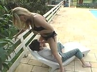 Steaming hot shemale feels like cramming her guy's yummy ass by the pool
