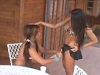 Outdoor creamy ass-pounding with steaming hot shemales in seductive bikinis