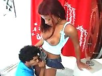 Upskirt shemale is about to provide ass-cramming amusement for horny guy