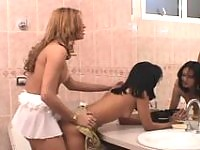 Voluptuous shemale giving yummy pussy a perfect workout using her hard rod