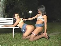 Lustful shemale ready to fill yummy pussy with sticky juice right on bench