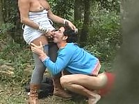 Slutty shemale lowering her blue tights craving ass-banging a guy outdoors