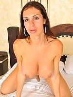 Busy tgirl Babara strokes cock