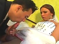 Hot shemale bride drilling the ass of her fiancé right in their nuptial bed