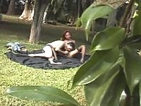 Raunchy shemale burning with desire to break guy's anal virginity outdoors