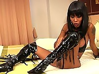 Smoking hot ladyboy-slave waiting for your commands