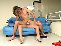 Shemale's throbbing cock is aching for guy's yummy ass to drill it non-stop