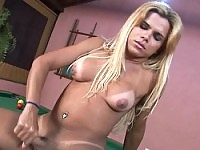 Hot blond Hilda masturbates on a pooltable