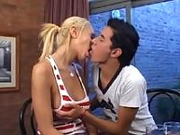 Sexy t-girl blowing a guy and getting to double jerk off before steamy anal