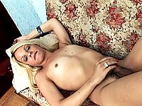 Blonde Shemale Dildoing