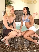 Horny shemale and her girlfriend playing warming up game before steamy bath