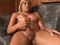 Blonde sexy babe Kananda strokes her cock