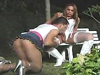 Hot sissy guy getting under fierce anal attack by white-stockinged shemale
