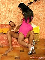 Steamy shemale thoroughly examining studs ebony ass with her stiffy cock