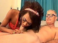 Delicious ladyboy fucked by a senior cock