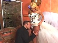 Hot tranny bride celebrating her fiance with stiff dip stick in her panties
