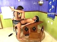 Irresistibly seductive shemales savoring ass-to-mouth action on the table