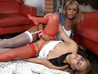 Voluptuous ladyboy seducing spicy girlie into oral fun with hardcore finale